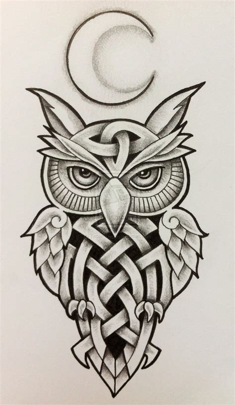tattoo owl design celtic owl and moon by design on deviantart