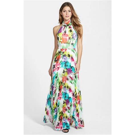 Halter Chiffon Maxi Dress summer dress 2015 sleeveless halter floral printed