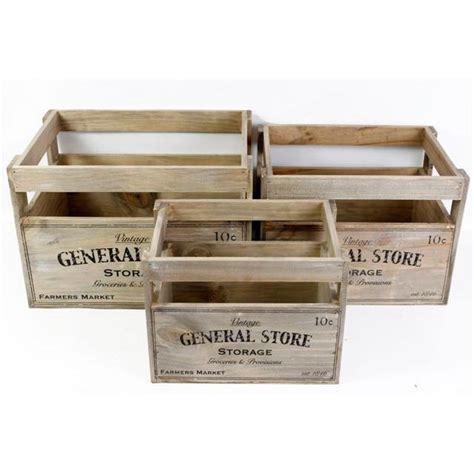3 caisses de rangement general store en bois 37   Achat