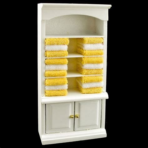 Bathroom Towel Cabinet White Bathroom Cabinet Yellow Towel Dollhouse Furniture