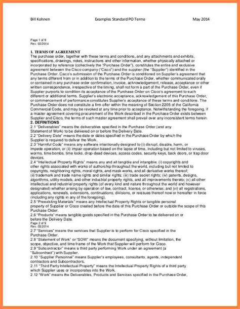 purchasing terms and conditions template 9 terms and conditions for purchase order template