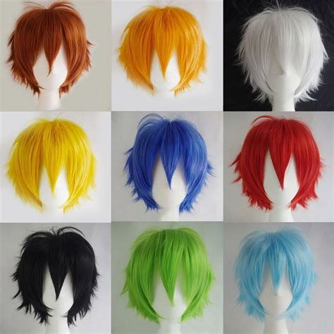 short ginger male wig unisex male female straight short hair wig cosplay party