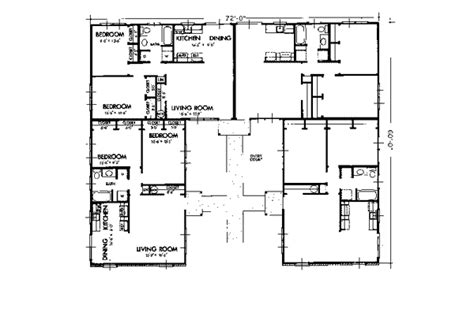 multi family house plans with courtyard williston park ranch fourplex plan 072d 0739 house plans