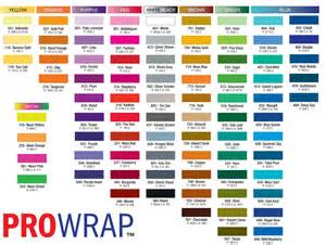 colors of chart prowrap pro products