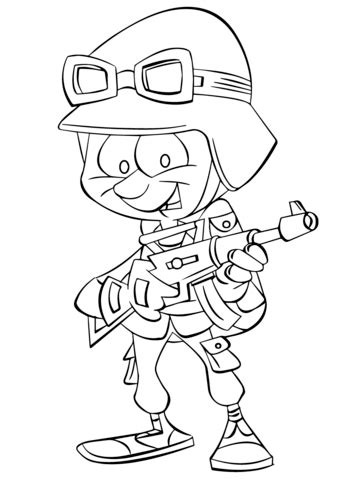 cartoon infantry soldier coloring page | free printable