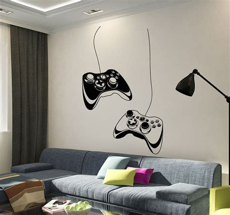 room decals vinyl wall decal joystick play room gaming boys stickers ig3652 ebay