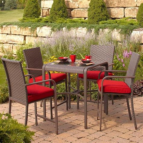 Small Patio Dining Set Rushreed 5 Gathering Height Patio Dining Set Seats 4