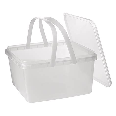 square ter evident food pail with handles and lid 3l clear