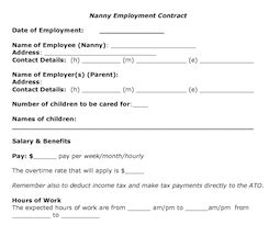 20 Things That Should Be In Your Written Nanny Employer Work Agreement Enannysource Nanny Agreement Template