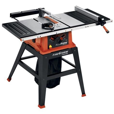 black decker table saw power tools firestorm 10 inch 15 table saw with stand