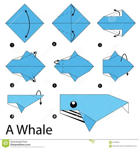 How To Make An Origami Whale - step by step how to make origami a whale