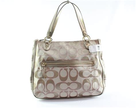 coach beige poppy signature monogram sateen large tote