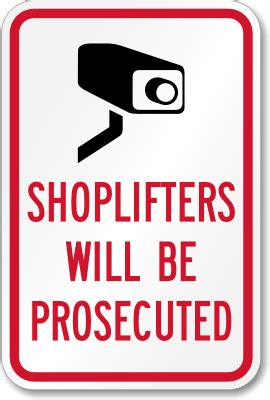 shoplifters will be prosecuted aluminum sign, sku: k 2637