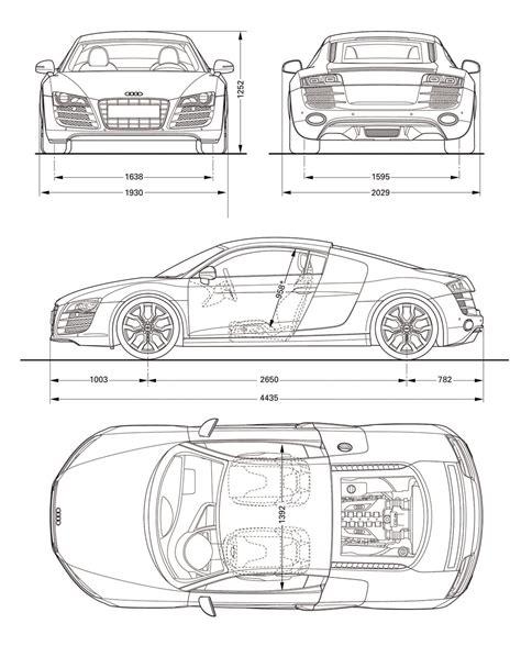 audi r8 v10 blueprint dimensions car design