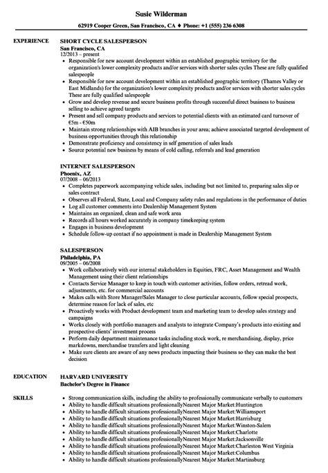 Salesperson Resume by Salesperson Resume Sles Velvet