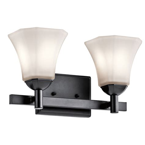 kichler 45732bk serena black 2 light bathroom wall sconce