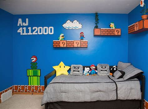 Mario Themed Bedroom | cool parents make super awesome super mario room for their