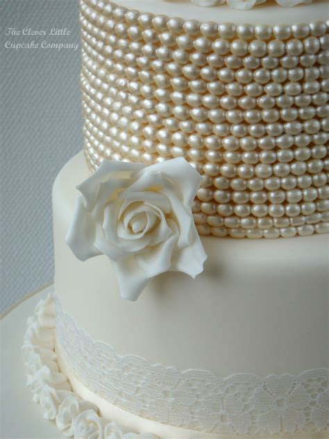 Wedding Cakes With Pearls by Vintage Lace And Pearl Wedding Cake Cakecentral