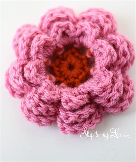 crochet flower pattern easy tutorial 3d irish rose with sc center large crochet flower