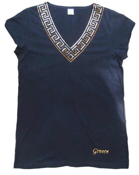 greek pattern t shirt ladies sleeveless v neck fitted t shirt greek key greece