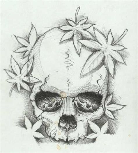 top 10 skull pot leaf tattoo designs broxtern wallpaper