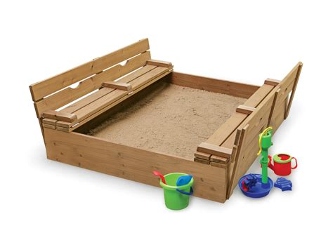 bench sandbox badger basket covered convertible cedar sandbox with two bench seats by oj commerce