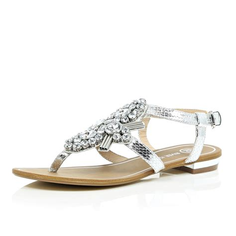 river island sandals river island silver gem embellished sandals in silver lyst