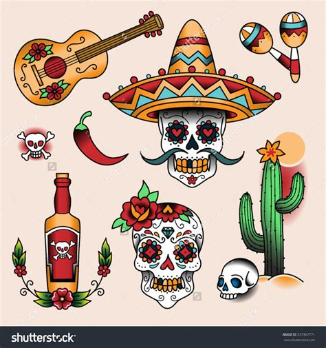traditional mexican tattoo designs stock vector mexican symbols set of color tattoos in