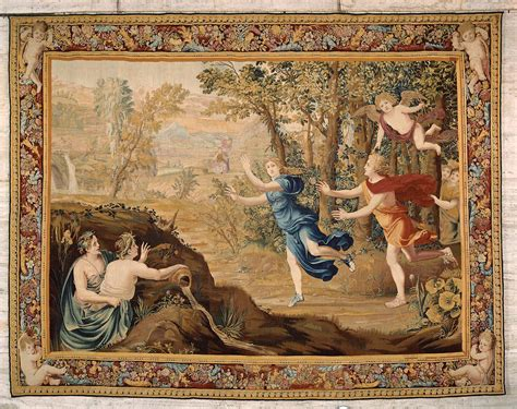 apollo and cupid tapestry apollo pursuing from the series the