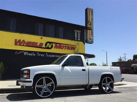 "1989 Chevy Silverado on 26"" Iroc wheels with black and"