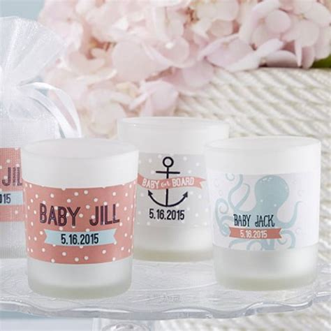 Baby Shower Votive Candle Favors by Personalized Nautical Glass Votive Candle Favors