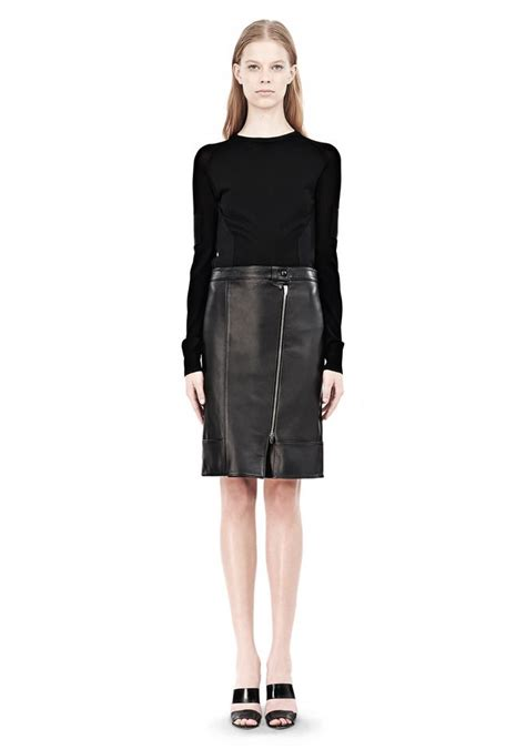 wang assymetric leather zip front skirt skirt