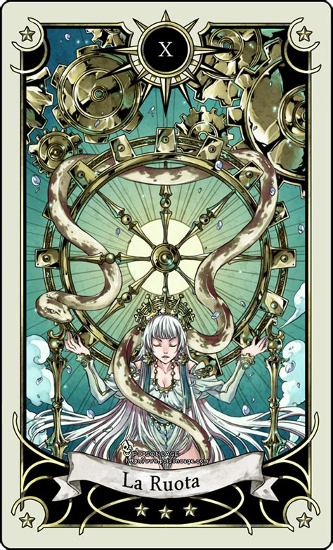 Tarot 10 Wheel Of Fortune tarot card 10 the wheel of fortune by rann poisoncage on