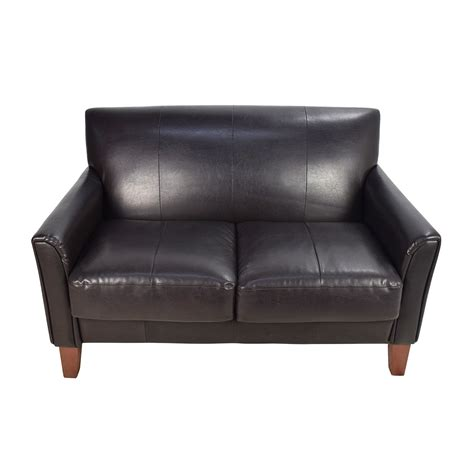 53 black leather loveseat sofas
