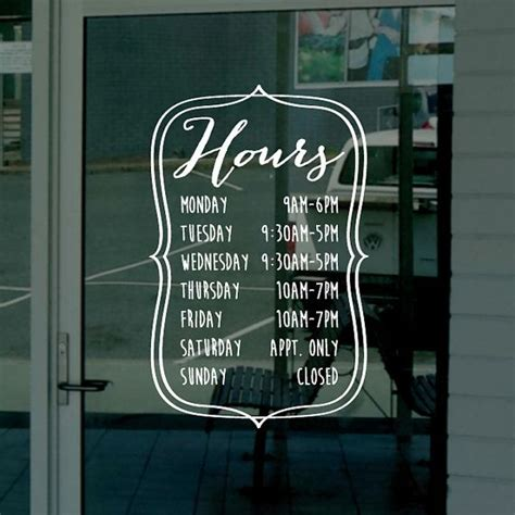 Window Decals For Business by Custom Business Hours Window Decal Custom Size And Color