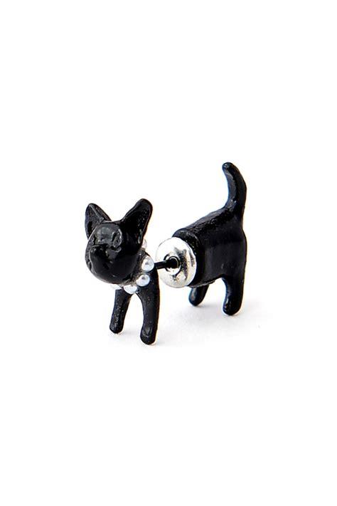 Black Cat Earring single lovely black cat stud earring oasap