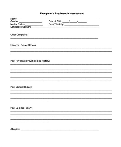 psychiatric evaluation form template 8 sle psychosocial assessment forms sle templates