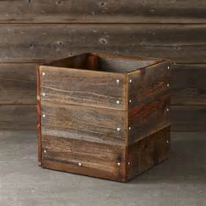 reclaimed square planter rustic outdoor pots and