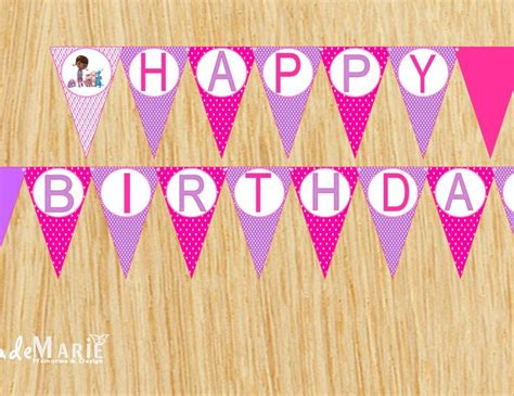 doc mcstuffins happy birthday banner printable doc mcstuffins inspired printable birthday banner pink