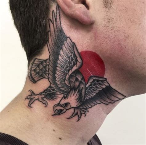 eagle tattoo on collarbone 50 most beautiful neck tattoos for men and women 2017
