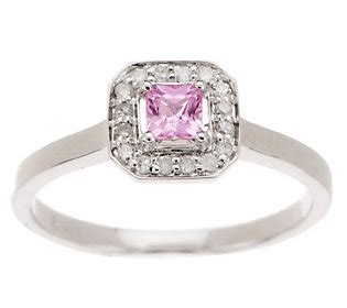 0 25 ct princess cut pink sapphire accent