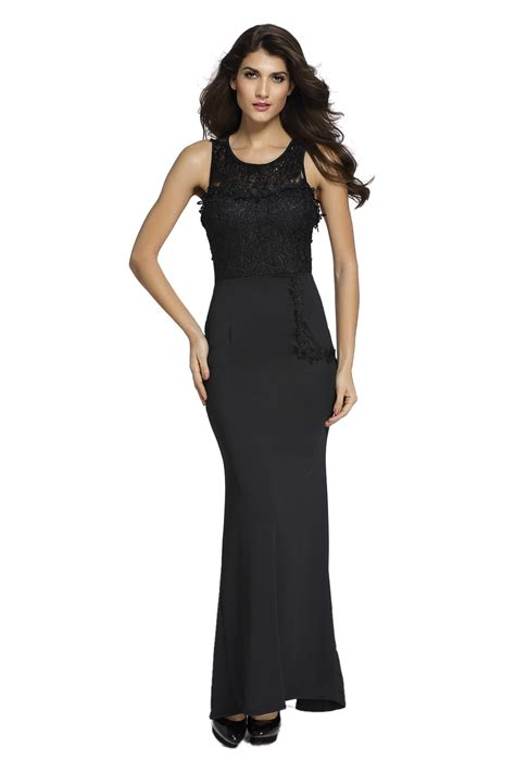 Sleeveless Maxi Evening Dress lace embellished sleeveless maxi evening dress for