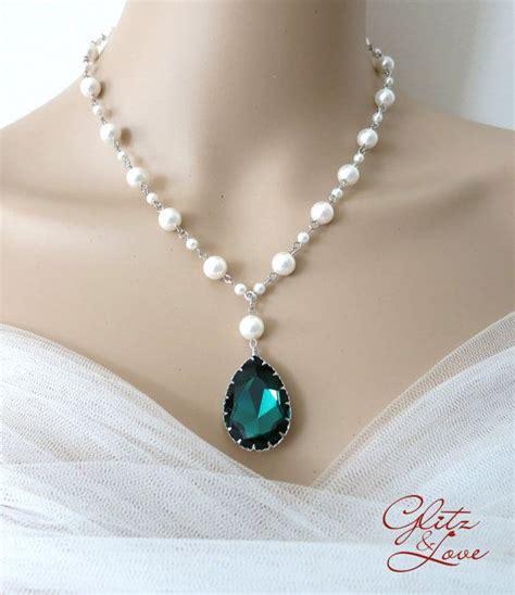 swarovski jewelry ideas emerald teardrop pearl beaded necklace bridal