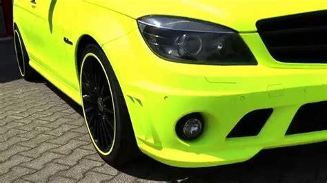 matt gelb mercedes c63 amg sedan foliert in matt neon gelb