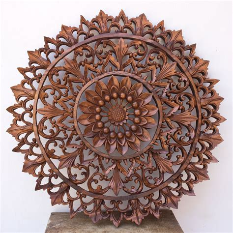 19in wood relief panel wall sculpture carved lotus flower bali indonesia ebay