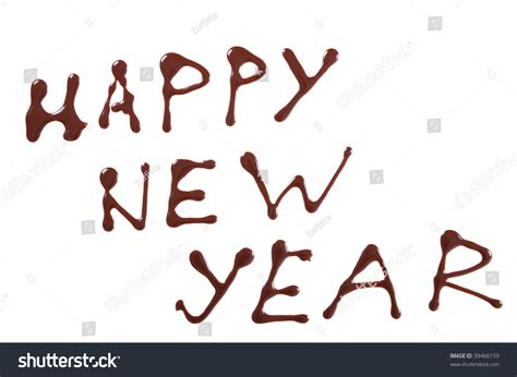 new year writing happy new year writing painting chocolate stock photo