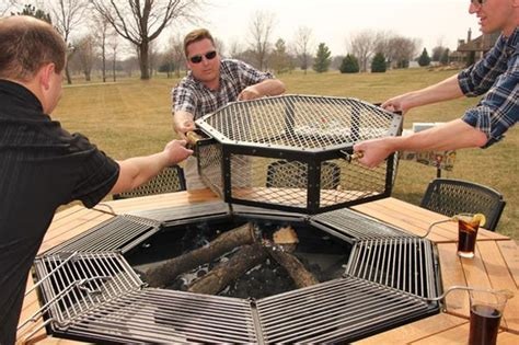 build pit grill table every guest can cook their own steak on this octagonal jag
