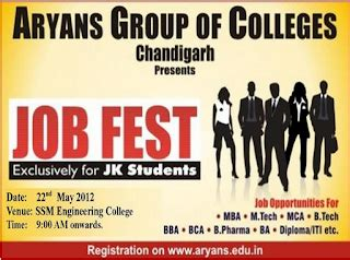 Internship In Chandigarh For Mba Students by Aryans Of Colleges For Jk Students On May