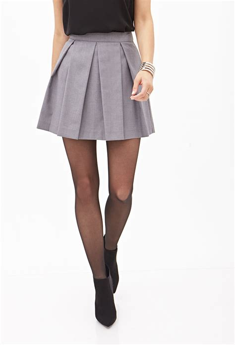 A Line Pleated Mini Skirt lyst forever 21 pleated a line mini skirt in gray