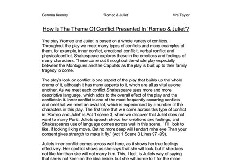 the theme of romeo and juliet play how is the theme of conflict presented in romeo juliet